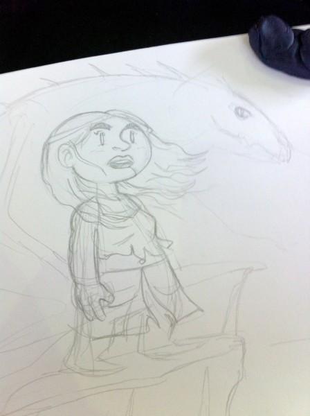 Boceto de Daenerys realizado en el Saló