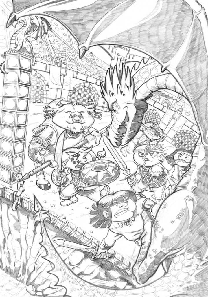 Lápiz de la portada de Renna y el Circo de los Dragones